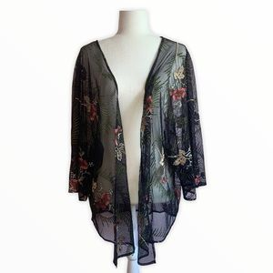 Floral Embroidered Tie Mesh Cover-up - Black XL